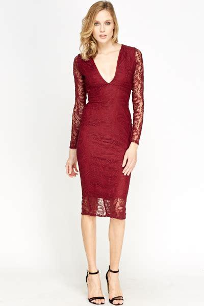 Galuh Maroon Midi Dress maroon lace midi bodycon dress just 163 5