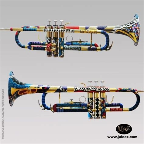Handmade Trumpets - made painted trumpet colorful musical instrument