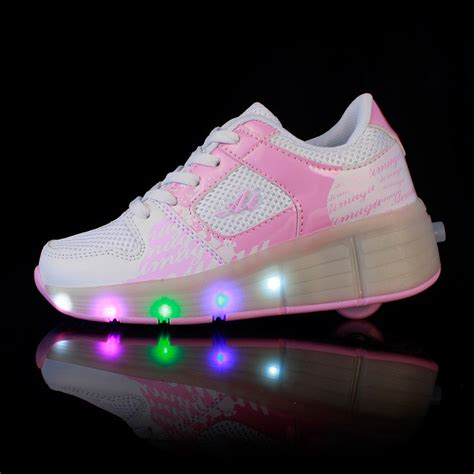 led light up shoes with wheels white pink grey cheap sale