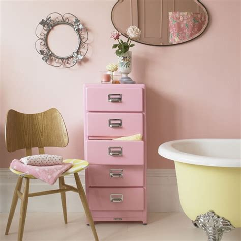 Pink Bathroom Storage Pastel Pink Bathroom With Yellow Freestanding Bath Colourful Bathroom Ideas 10 Of The Best