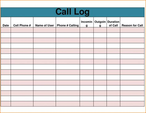 Call Log Cards Template by Template Call Log Template