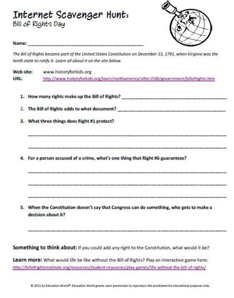 Bill Of Rights Worksheet Pdf by Scavenger Hunt The Bill Of Rights Education World