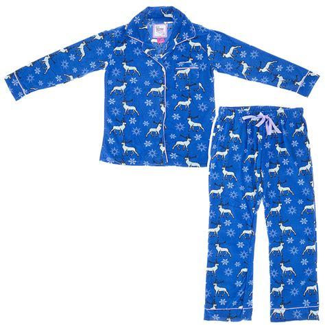 Pajamas Blue blue reindeer fleece pajamas for