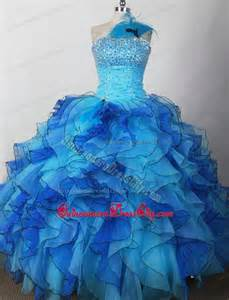 cheap puffy ruffled beaded blue pageant dresses for