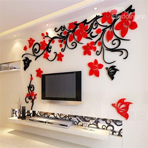 3d wall sticker flower and butterfly pattern acrylic 3d tv sofa background