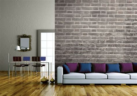 Living Room With Brick Effect Wallpaper Add Industrial Design To Your Interior With Brick Effect