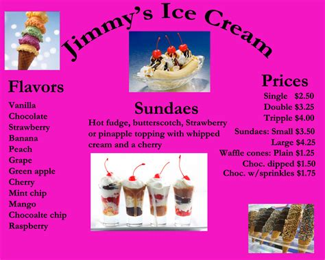 buisness card ice cream menu