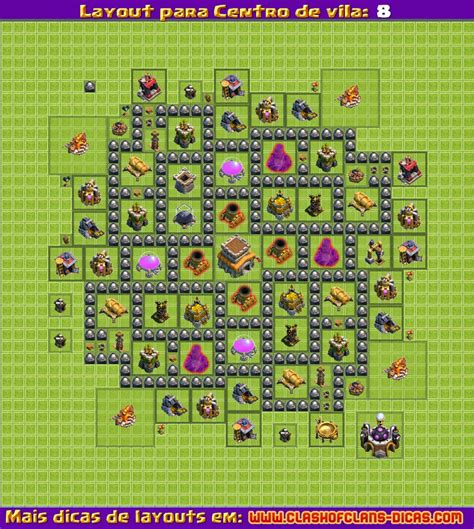 Layout Hibrido Cv 8 4 Morteiros | layouts para clash of clans centro de vila 8