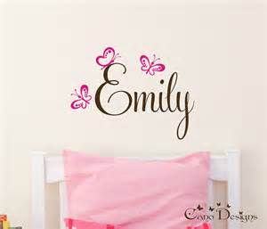Name Wall Stickers personalized name with butterflies custom vinyl wall decals