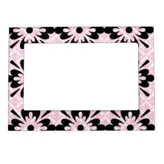 white pattern photo frame vintage pink black and white damask pattern magnetic photo