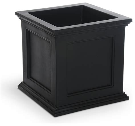 Black Outdoor Plant Pots Mayne Black Plastic Outdoor Planter Traditional