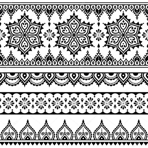 pattern design element mehndi indian henna tattoo seamless pattern design