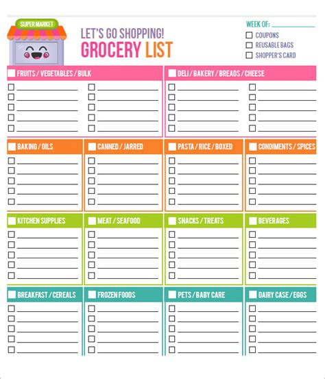 editable grocery shopping list template 10 free printable grocery list templates sle templates