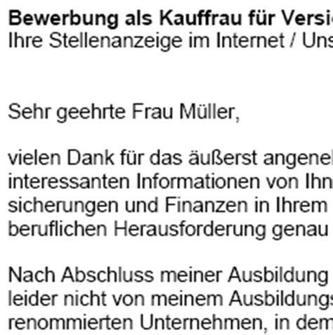 Bewerbung Kauffrau Fur Versicherungen Und Finanzen Bewerbungsmuster Kaufmann Kauffrau F 252 R Versicherungen Und Finanzen Muster