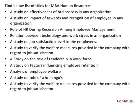 Mba Year Project In Hr by Project Report Titles For Mba In Human Resources
