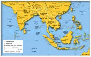 East asia map with capitals
