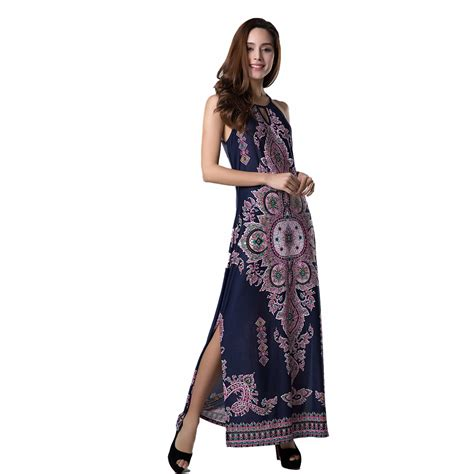 Flowery Dress By Delima Style 2016 new style summer dress bohemian maxi dress floral print hollow out dress split