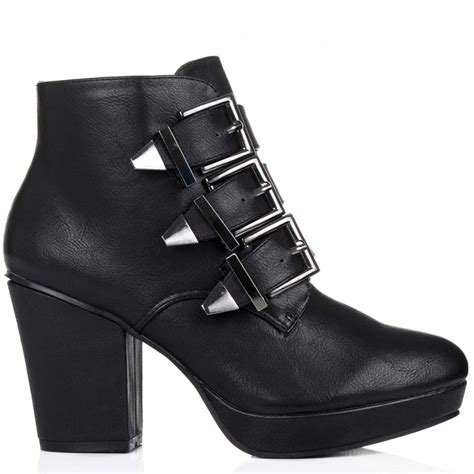 black leather ankle boots with heel buy frida block heel platform ankle boots black leather