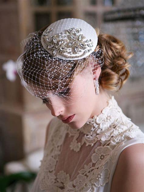 braut fascinator crystal bridal head piece ivory and crystal bridal