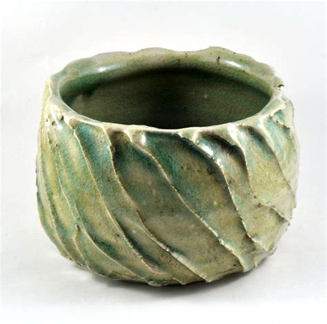 Handmade Pottery At Home - ceramic stoneware bowl textured green rustic handmade