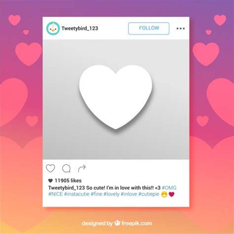 layout en instagram marco de instagram con coraz 243 n descargar vectores gratis