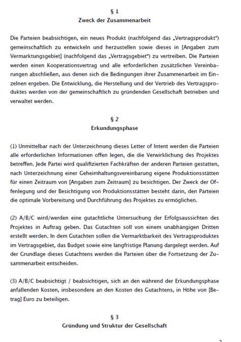 Letter Of Intent Zusammenarbeit Muster Absichtserkl 228 Rung Loi Muster Zum