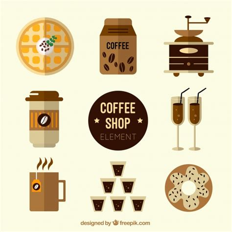 design elements of a coffee shop assortment of coffee shop elements vector free download