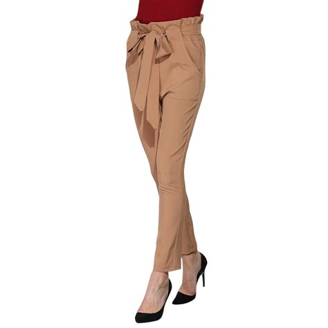 Belt Pant new fashion high waist bowtie flat slim