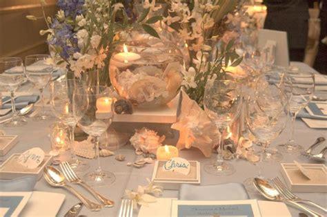 coastal beach destination wedding table decorations in
