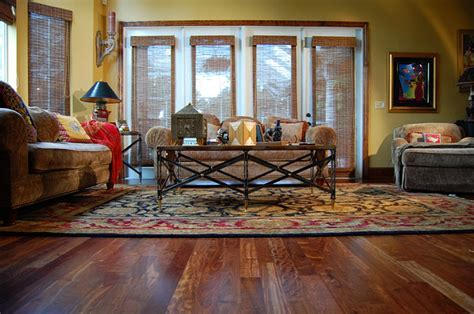 Caribbean Rosewood hardwood floor   Tropical   Living Room