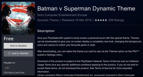 ps4 themes superman batman vs superman free ps4 theme download product