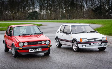 volkswagen hatch old classic hatch test vw golf gti mk1 vs peugeot 205 gti