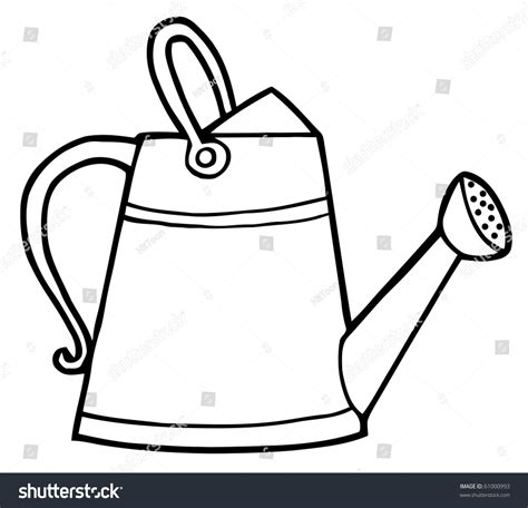 Water Pot Outline by Coloring Page Outline Gardening Watering Can Stock Vector 61000993