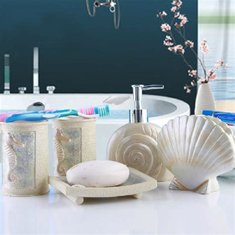 3 shells bathroom new diy sea shell style 5pcs bathroom accessories set