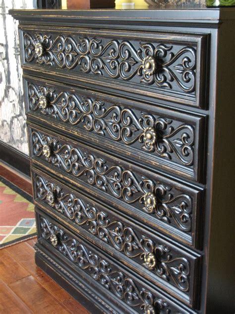 Carved Dresser by European Paint Finishes Black Carved Dresser