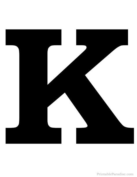 Printable Letter K Silhouette   Print Solid Black Letter K