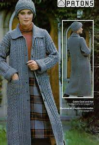 Knitting pattern womens long sweater hooded cable coat jacket pattern