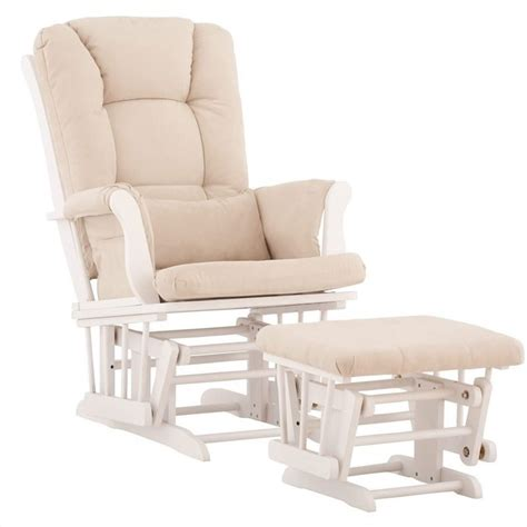 white glider and ottoman glider and ottoman in white with beige cushions 06554 511