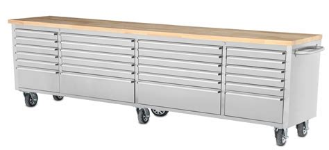 tool cabinet with wood top 96 quot stainless steel rolling tool cabinet w wood top