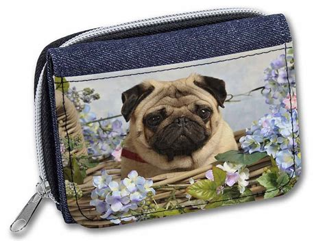 pug wallet fawn pug in a basket denim purse wallet gift idea id 136501