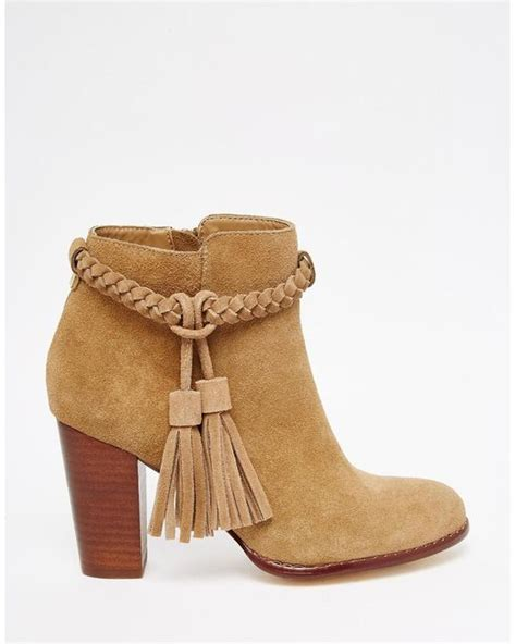 faith tassel suede ankle boots in brown lyst