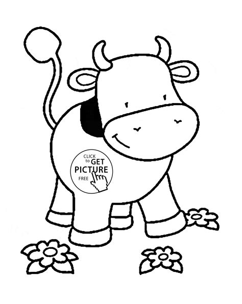 Small Cow Coloring Page For Kids Animal Coloring Pages Printables Free Wuppsy Com Small Animal Pictures To Print