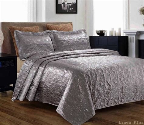 Size Bed Coverlets 3 Silky Satin Gray Quilted Bedspread Coverlet Set