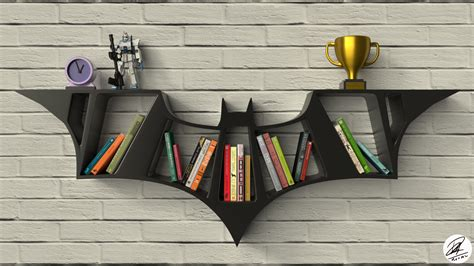 batman logo bookshelf design blendernation