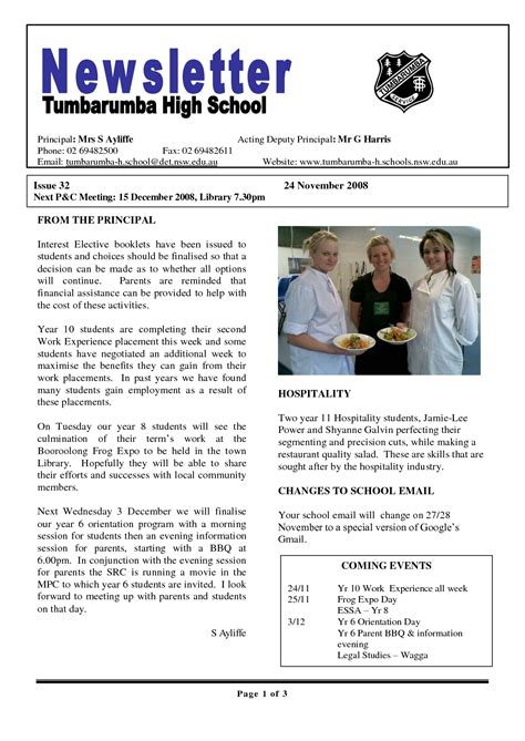 17 Awesome High School Newsletter Templates Images Newsletter Templates Pinterest School School Newsletter Templates