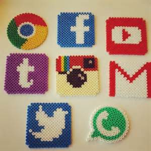 social network logo coasters hama beads by doetrnietoe crafts pinterest language facebook
