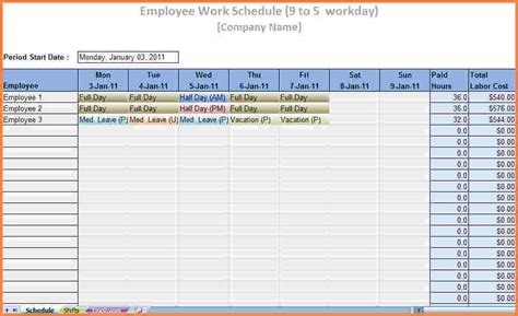 Labor Tracking Spreadsheet by Work Schedule Tracker Commonpence Co