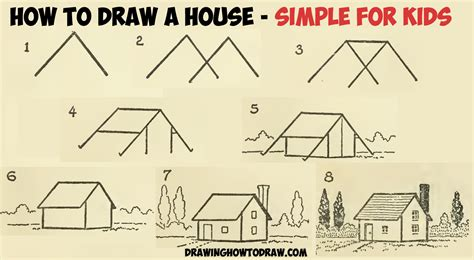 how to draw a house step by step how to draw a simple house with geometric shapes easy step by step drawing tutorial