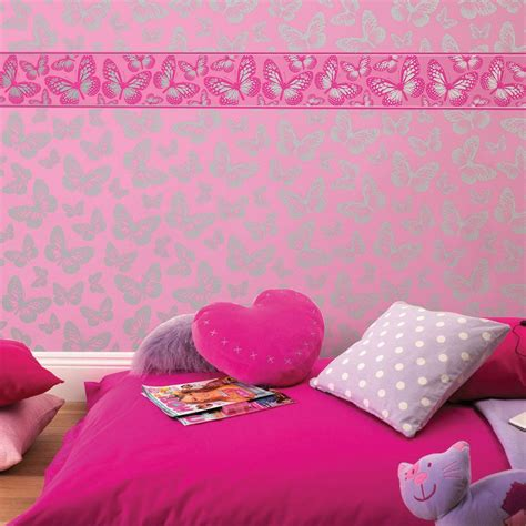 pink borders for bedrooms girls generic bedroom wallpaper borders butterfly flowers