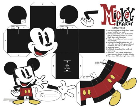 Mickey Mouse Papercraft - origami toys foldsomething origami paper crafts
